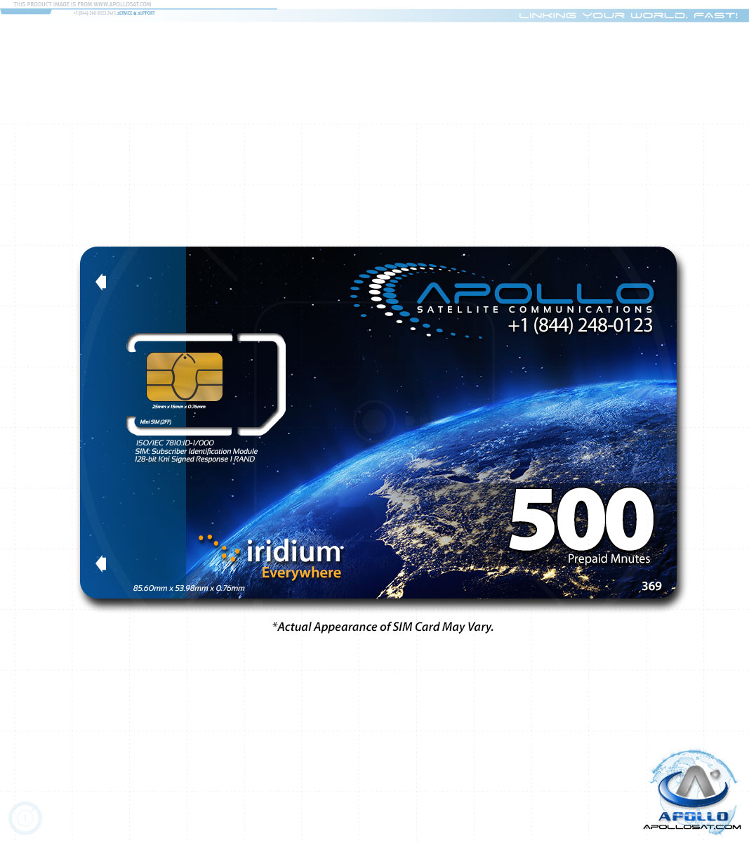 Iridium 500 Minute 1 Year Prepaid SIM