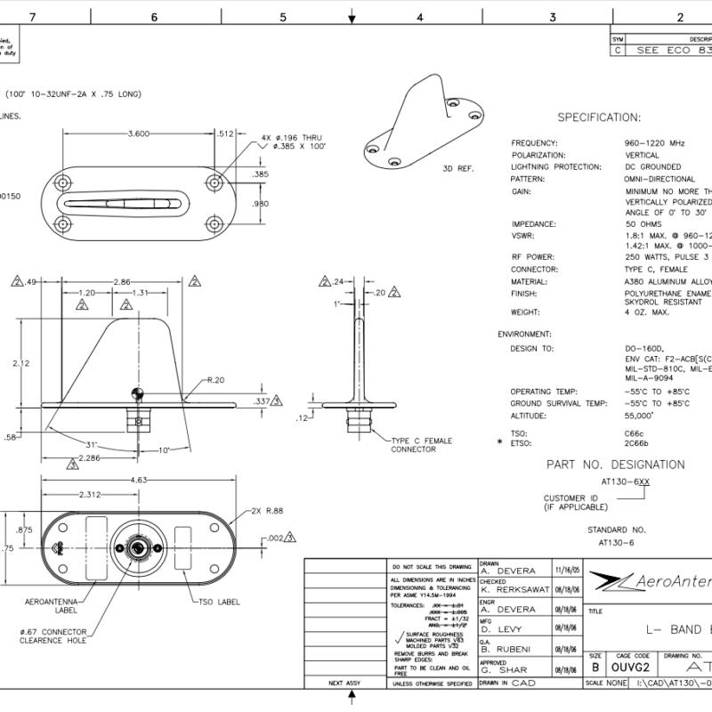 AERO AT130-6 Aviation Transponder - Blueprint