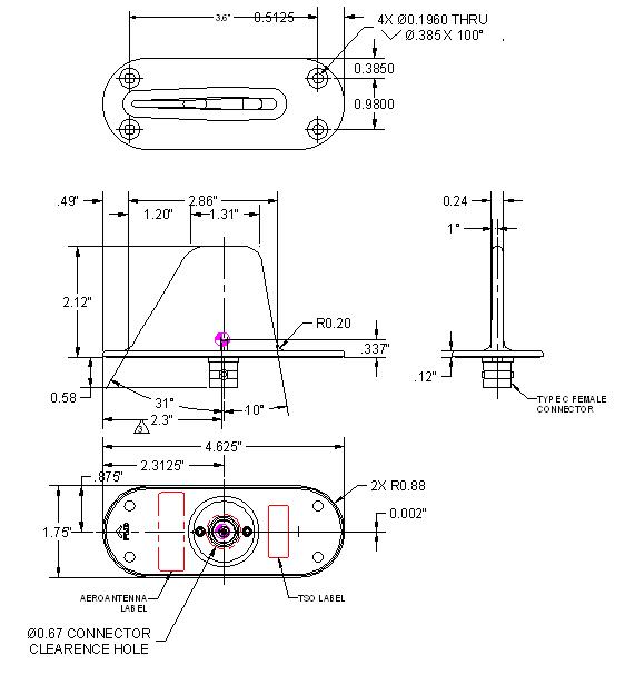 AERO AT130-6 Aviation Transponder - Blueprint-1