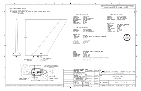 AERO AT135-4 Aviation Antenna - Blueprint