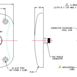AERO AT575-43 Aviation Antenna - Spec Drawing