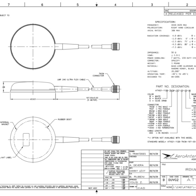 AERO AT1621-112 Iridium Antenna - Blueprint