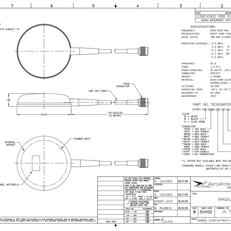 AERO AT1621-12 Iridium Antenna - Blueprint