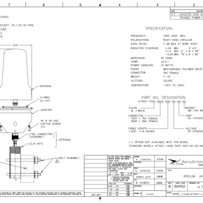 AERO AT1621-142 Iridium Antenna - Blueprint