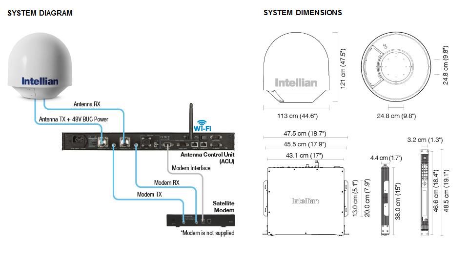 Intellian v80G - Diagram-Dimensions