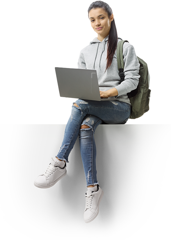 Female Student Sitting using laptop computers - Apollo Satellite