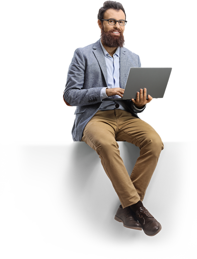 Iridium GO - Male Student Sitting using laptop computers - Apollo Satellite