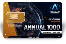 Iridium Monthly Plans 1000 Annual Minutes SIM Card - Apollo Satellite