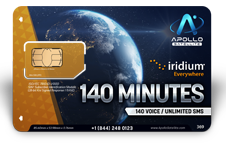 Iridium Monthly Plans 140 Monthly Minutes SIM Card - Apollo Satellite