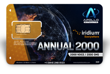 Iridium Monthly Plans 2000 Annual Minutes SIM Card - Apollo Satellite