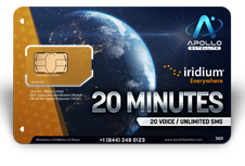 Iridium Monthly Plans 20 Monthly Minutes SIM Card - Apollo Satellite