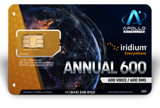 Iridium Monthly Plans 600 Annual Minutes SIM Card - Apollo Satellite